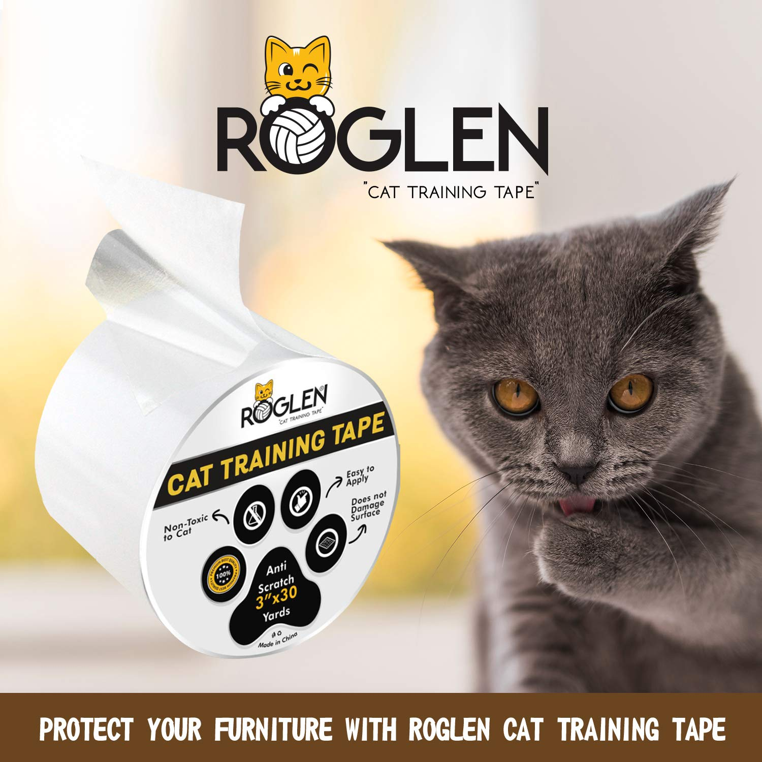 Prevent Scratching Double-Sided Sticky Adhesive Kittens Damage Furniture /& Fabric Protection Roglen Cat Tape Anti-Scratch Training Deterrent 3 Inches x 30 Yards Clear Adults