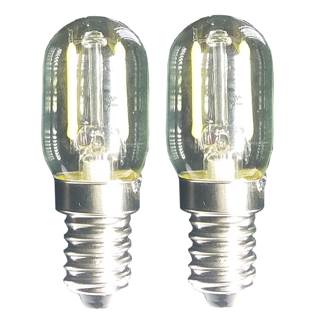 Led Filament Light 1.5w T22 E17 Base Microwave Bulb 125v 20w Equivalent Incandescent Lamps for Refrigerator Microwave Oven Candelabra Lava Desk Light (2 Pack,E17,5000K Daylight)