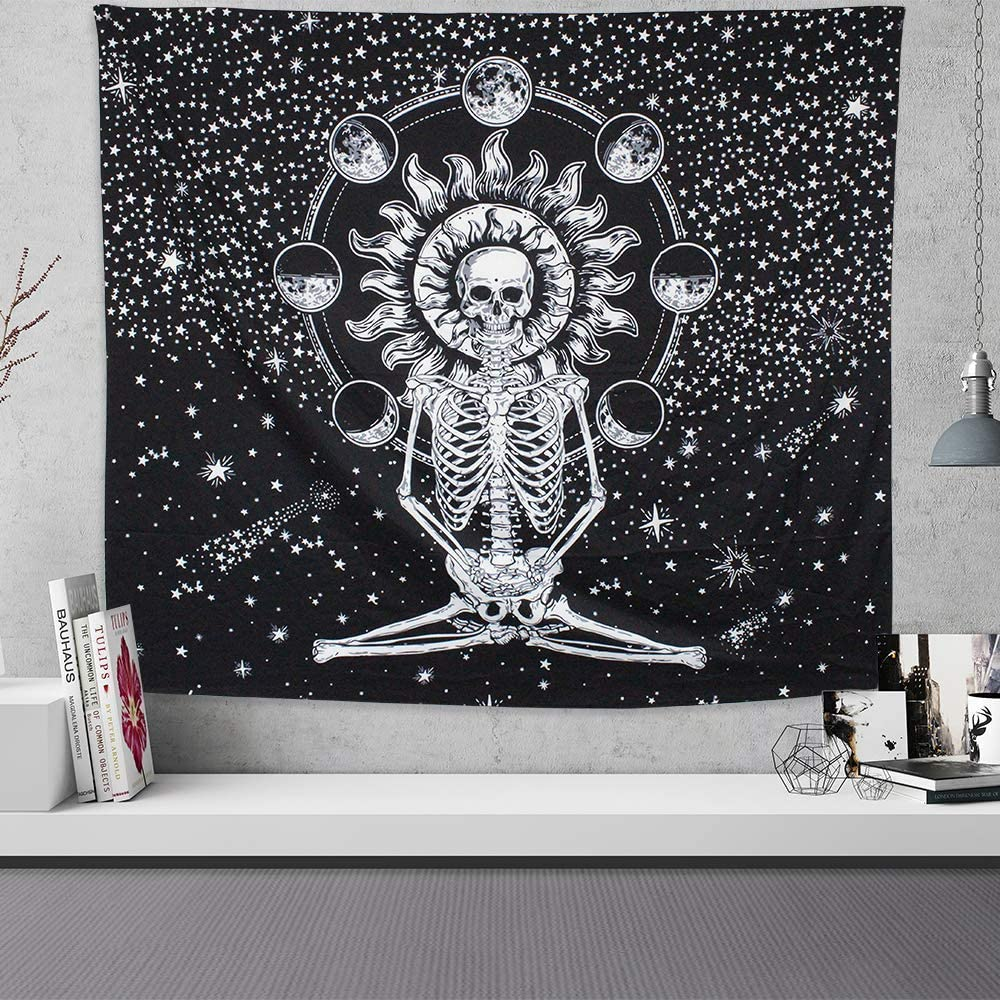 Skull Tapestry Wall Hanging Black and White Tapestries Meditation Skeleton Tapestry Thicker Chakra Starry Tapestry Wall Art for Living Room Bedroom Dorm Wall Decor Vsco Room Decor(51.2''x59.1'')