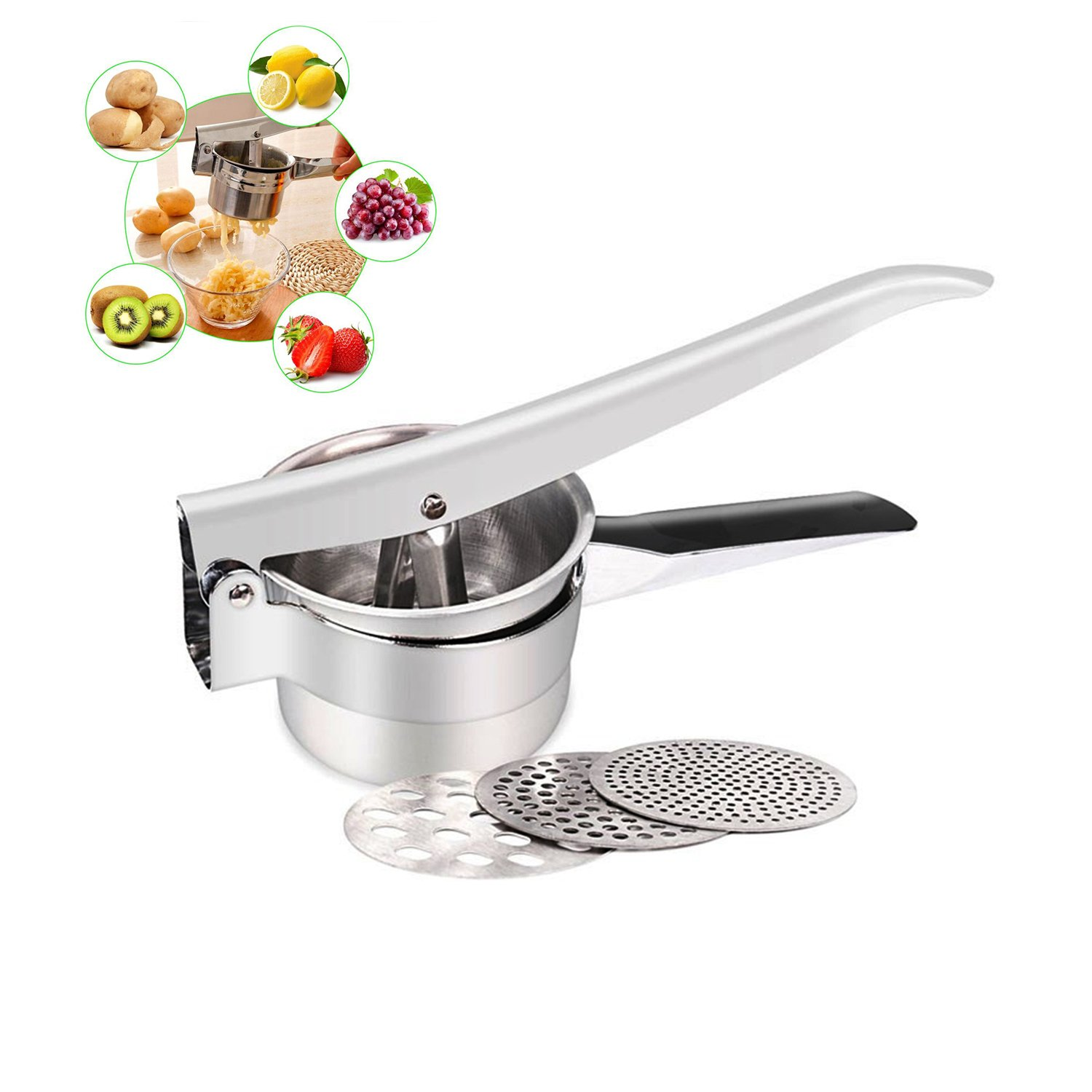 DenSan Potato Ricer Set Fruit and Vegetables Masher Food Ricer Large Capacity 420ml-100% Premium Stainless Steel Lifetime Warranty