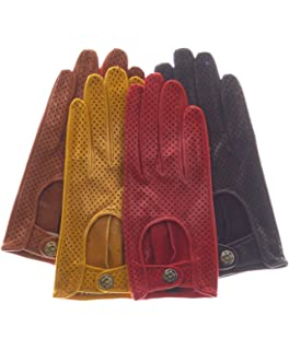 bef863e12 Fratelli Orsini Women's Italian Leather Driving Gloves with Contrast ...