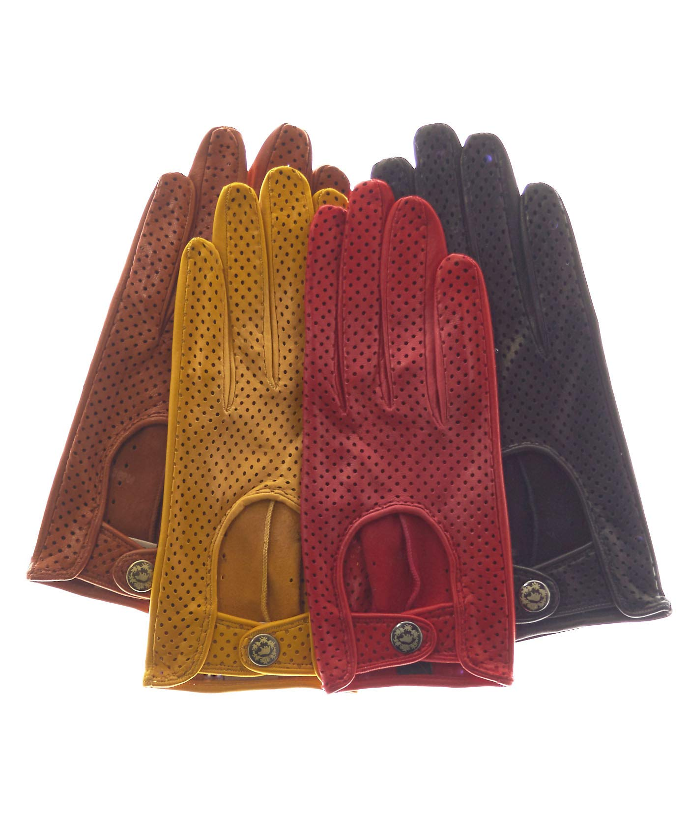 Fratelli Orsini Women's Ventilated Leather Driving Gloves Size 7 1/2 Color Black