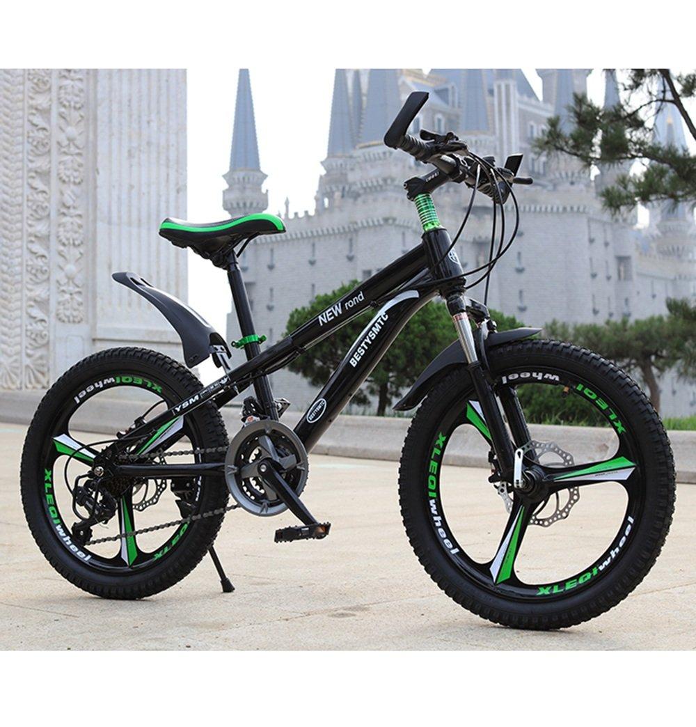 美しい 家子供の自転車20インチのスピードマウンテンバイク6-10-11-12歳の少年女子二重ディスクブレーキ(多色オプション) (色 : ブラック) B07D1PN5BJブラック