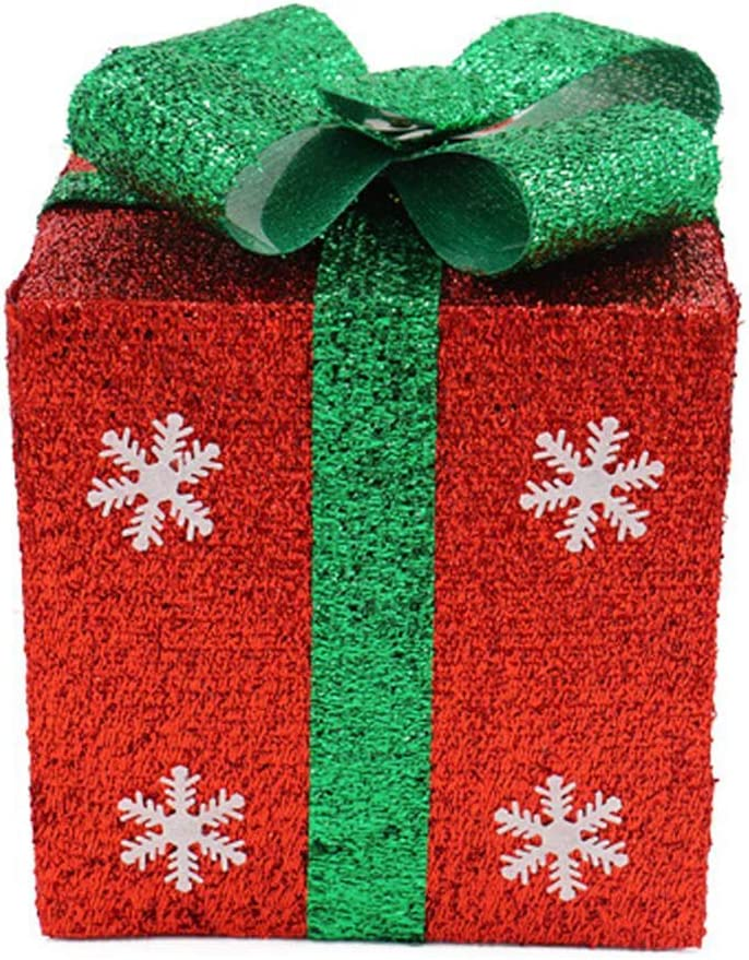 Daliuing 1pcs decoración navideña Caja de Regalo decoración navideña Material de PVC Hecho decoración navideña para casa roja decoración navideña de Puertas