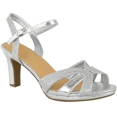 33a1750712cbb5 Fashion Thirsty Sandales à Lanières - Femme - Talon Large/Moyen - Paillette/ Fête
