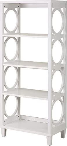 Ravenna Home Springdale Modern Shelving Unit with Decorative Open Sides, 24 W, White