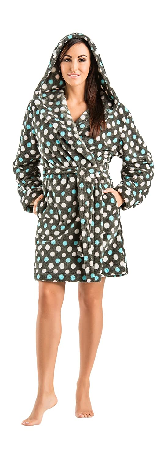 Warm Soft Hooded Polkadot Womens Bathrobes Dressing Gowns Knee Length