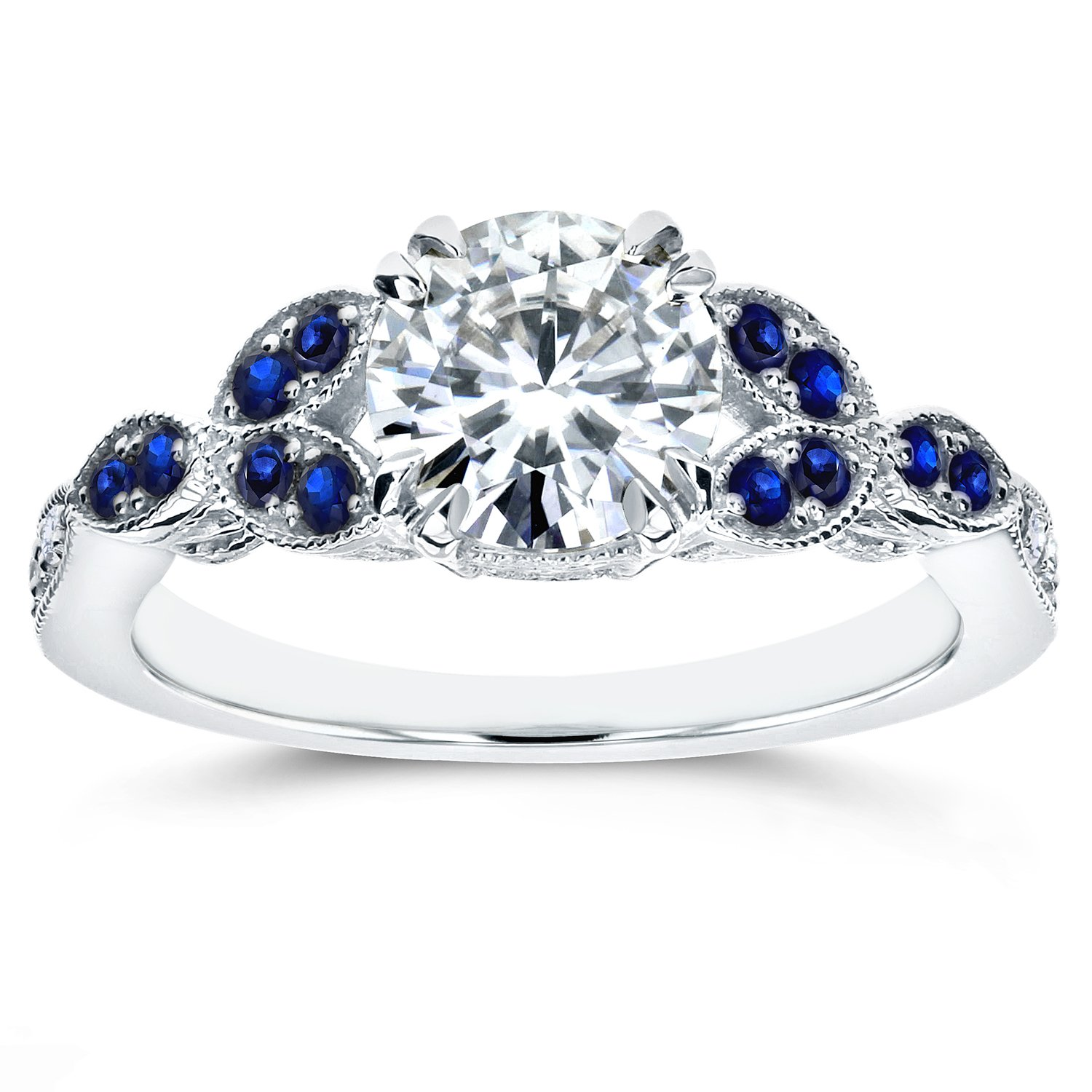Antique Moissanite and Blue Sapphire Engagement Ring with Diamond Accents 1 1/5 CTW 14k White Gold, Size 7