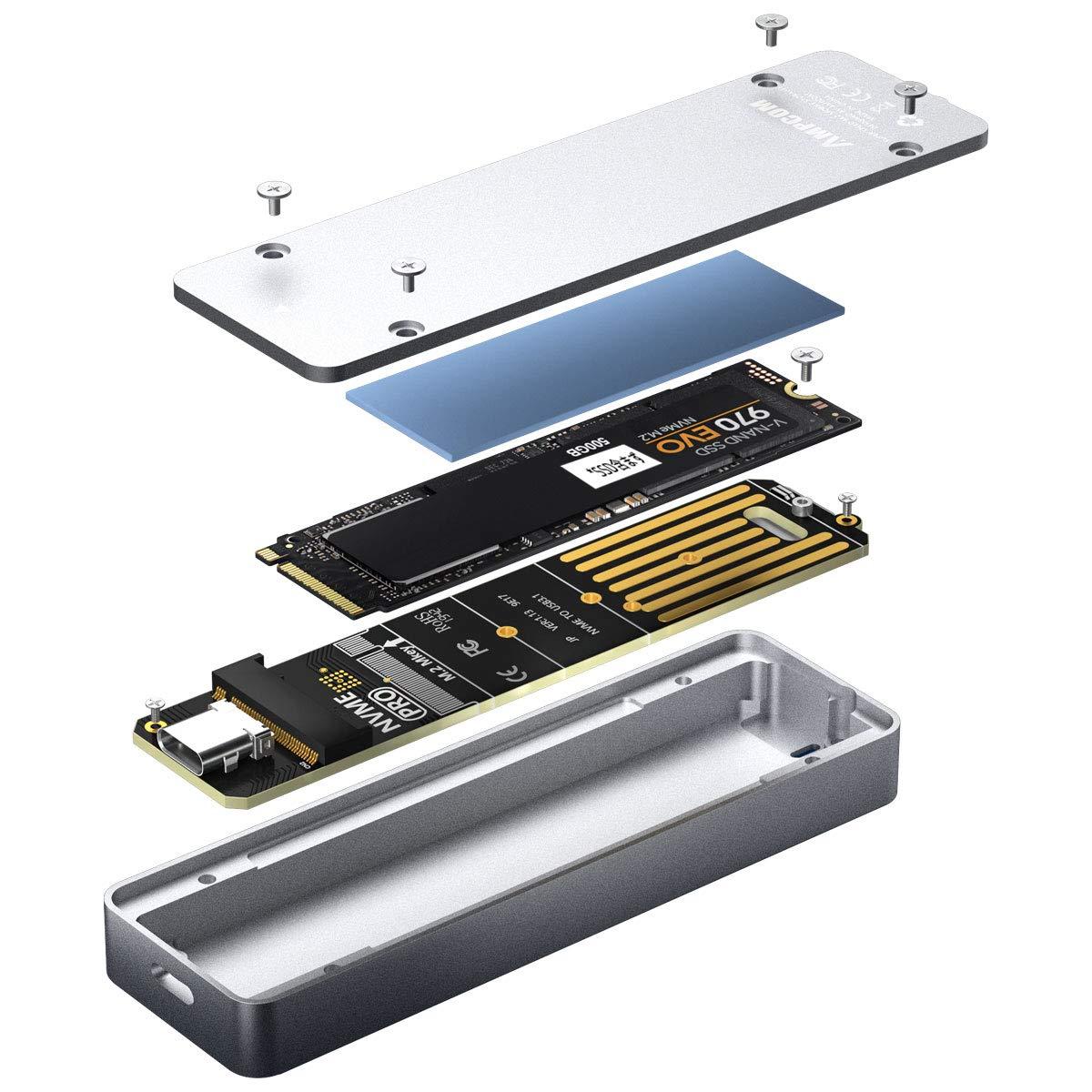 Adaptador AMPCOM M.2 De Caja SSD M-Key NVMe PCIe a USB-C/A
