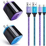 Wall Charger Android Fast Charging Cable Kit, Dual Port Charger Block Micro USB Cord Compatible for Samsung Galaxy S7 S6…