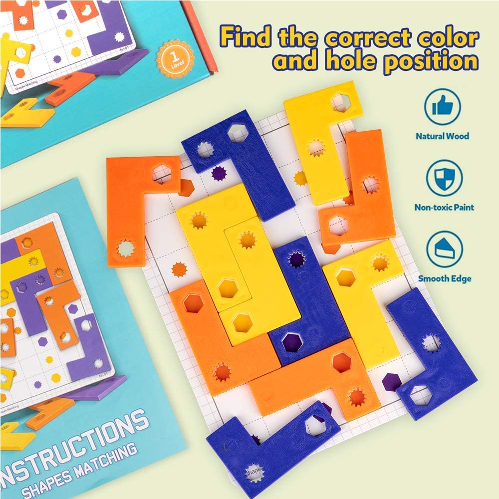 Puzzle Toy Shape Puzzle Brain Teaser STEM Toys for 5 6 7 8 ...