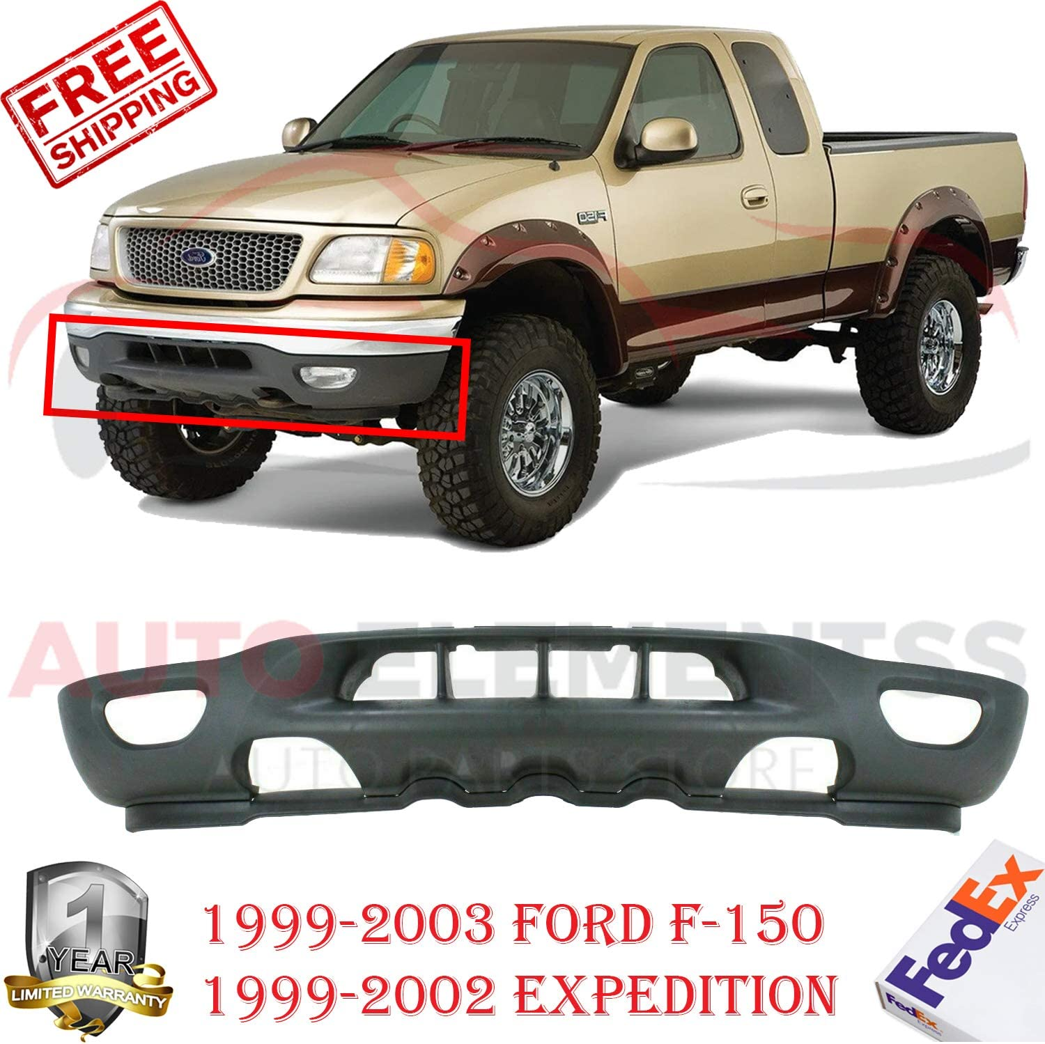 New Front Lower Valance Textured with Tow Hook and Fog Light Holes For 1999-2003 Ford F-150 Pickup Truck //1999-2002 Expedition Direct Replacement