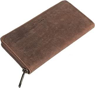 STILORD 'Emma' Cartera de Piel para Mujer con Bloqueo RFID Monedero o Billetera o portamonedas Grande con Cremallera para Dama de auténtico Cuero Vintage, Color:Torino - marrón