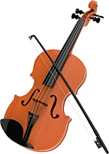 Hey! Play! Kid's Toy Violin with 4 Adjustable Strings and Bow - Musical Sounds- Realistic-Looking Instrument for Learning Classical Music (395279FUB)