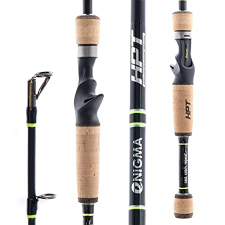 Enigma Fishing High-Performance Titanium Pro Tournament Series Bass Fishing Rods, Japanese Toray Graphite High Modulus 1 Pc Blanks, Alps Guides, Cork Grips, Actions – Casting Rod