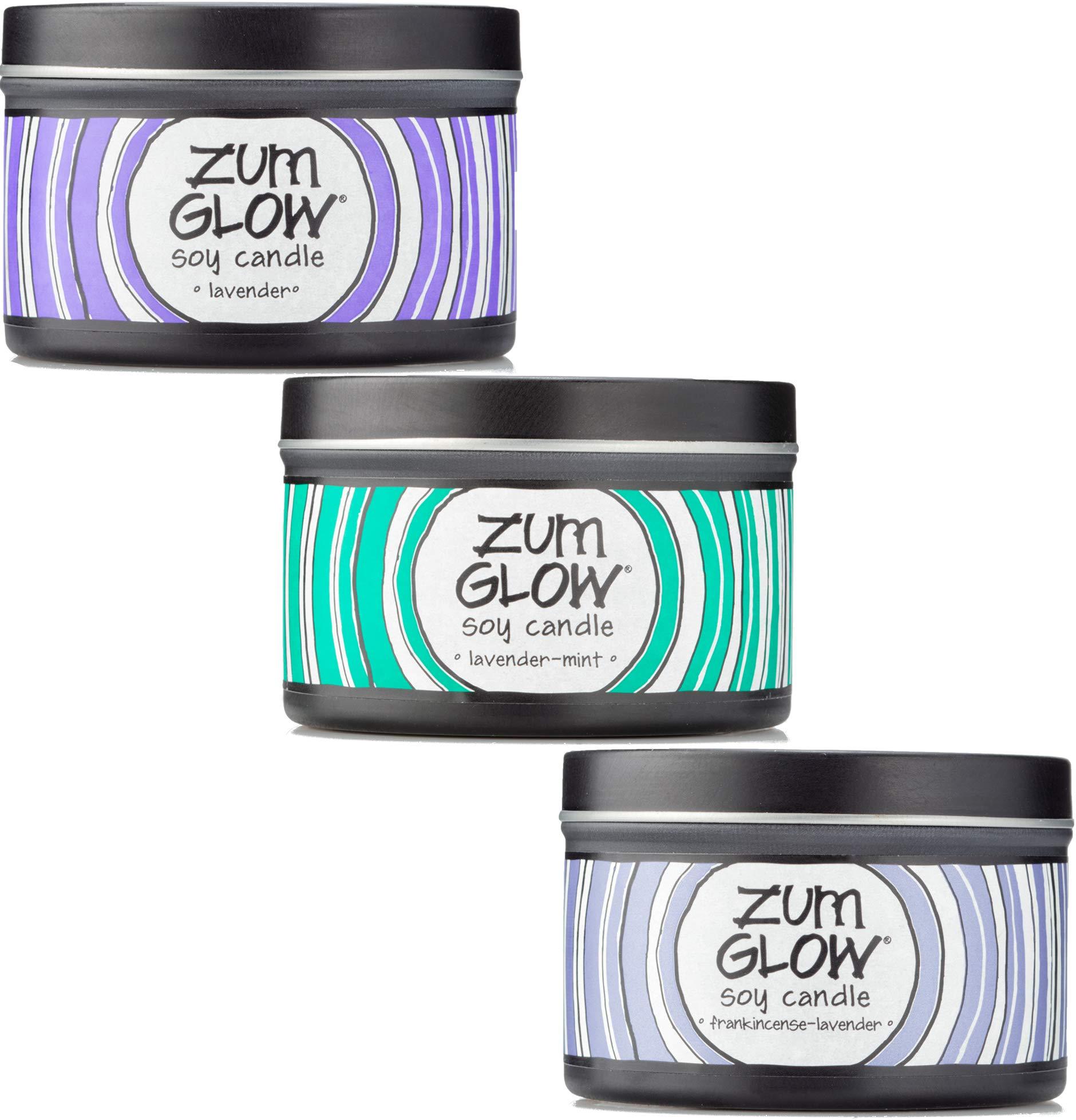 Indigo Wild Zum Glow Aromatherapy Soy Candles Set, 7oz: Lavender, Lavender-Mint, Frankincense-Lavender by Indigo Wild