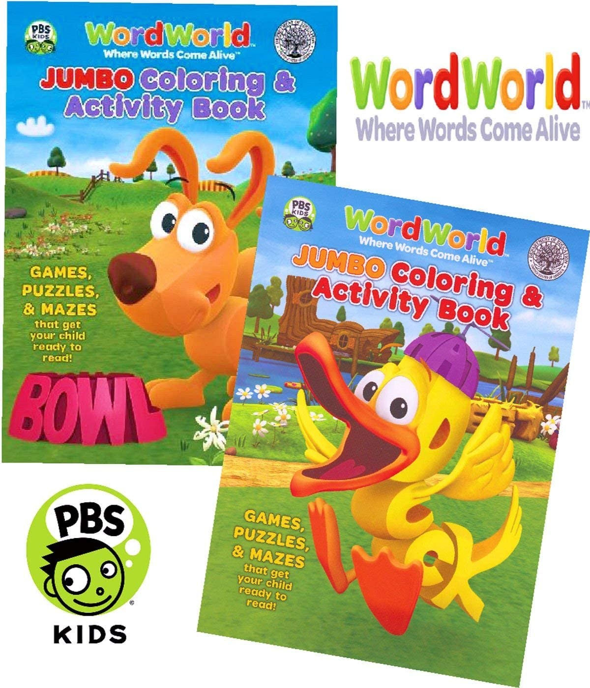 Amazon Com Wordworld Jumbo Coloring And Activity Book Set 2 Coloring Books Toys Games