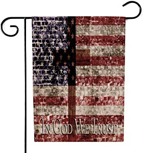 GROOTEY Christmas Garden Flag,Home Yard Decorative 12.5X18 Inches in God We Trust Cross Amp Flag Double Sided Seasonal American Garden Flags Kids Christmas Garden Flag