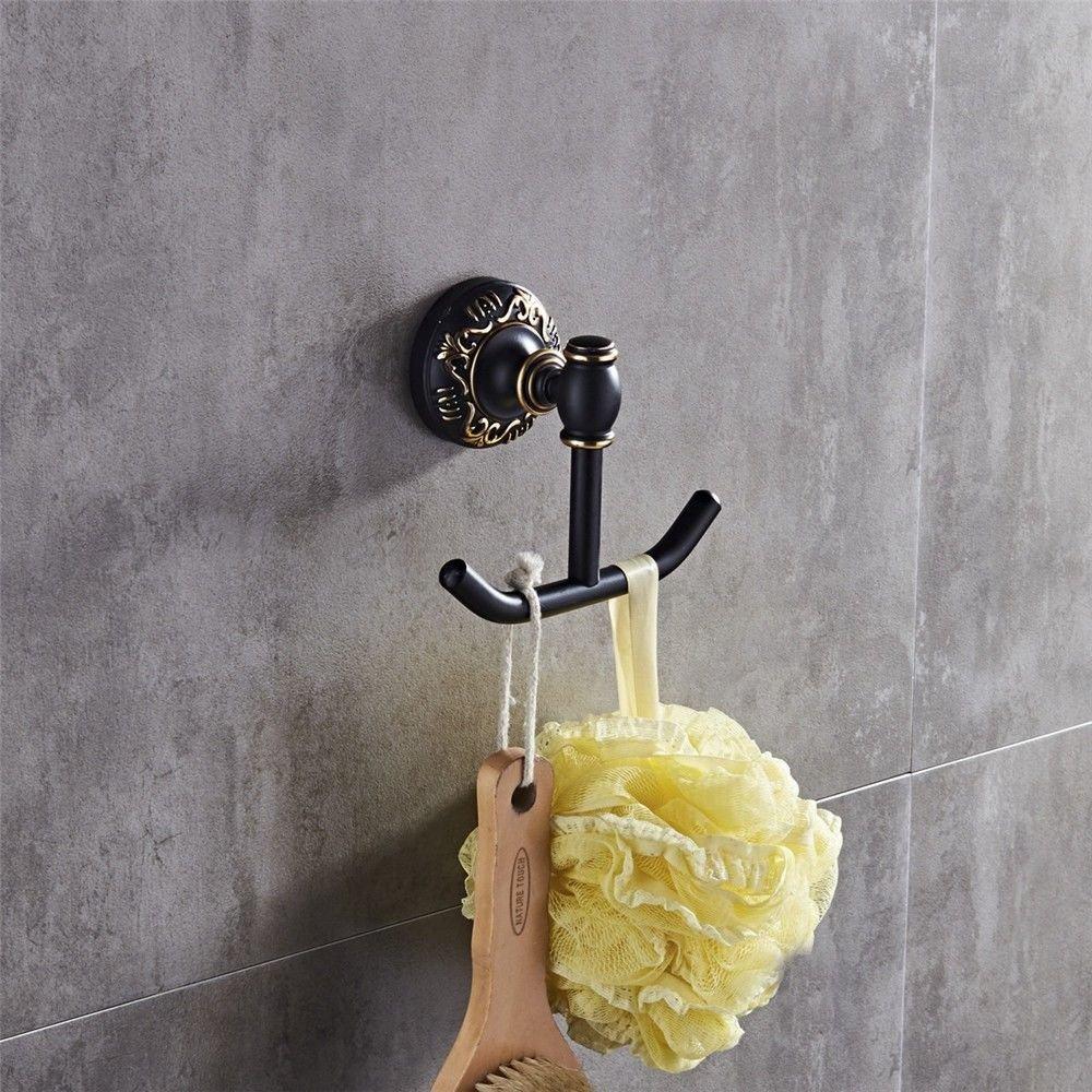 Vintage blackaluminumwall-mounted bathroom, coat hook