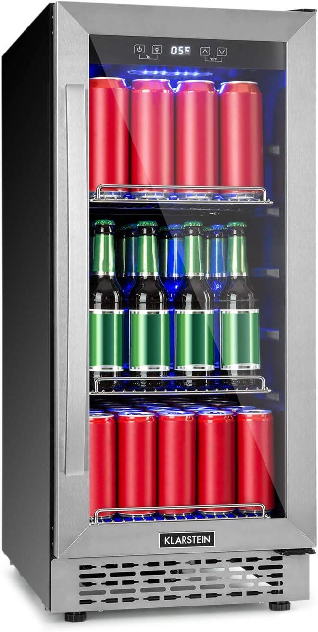 Klarstein Beerlager 88 réfrigérateur pour boissons : 88L, 33 bouteilles, encastrable, hauteur 86,5 cm, porte vitrée avec cadre en inox, 3 étagères, température : 0-10 °C, tactile, noir