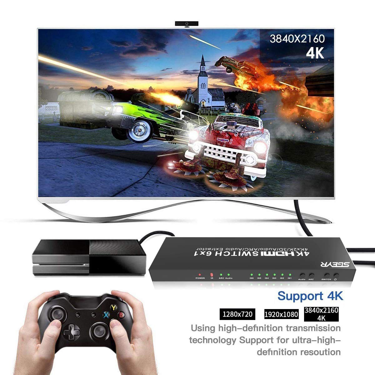Sgeyr 6x1 Hdmi Switch 14v Switcher 6 Port Amazonco Fuse Xbox 360 Amazon Electronics