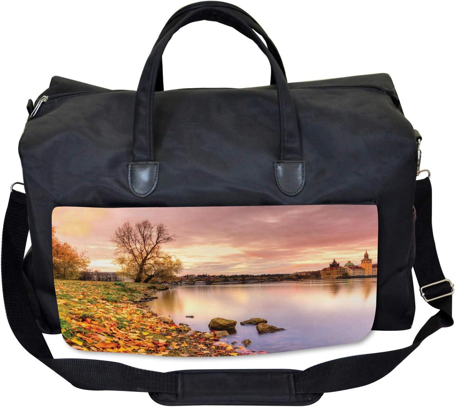 Ambesonne City Gym Bag Large Weekender Carry-on Prague Riverside Autumn