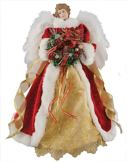 Christmas Angel Tree Topper.Santa S Workshop Fiber Optic Xmas Angel Tree Topper 16 Tall Red White Gold