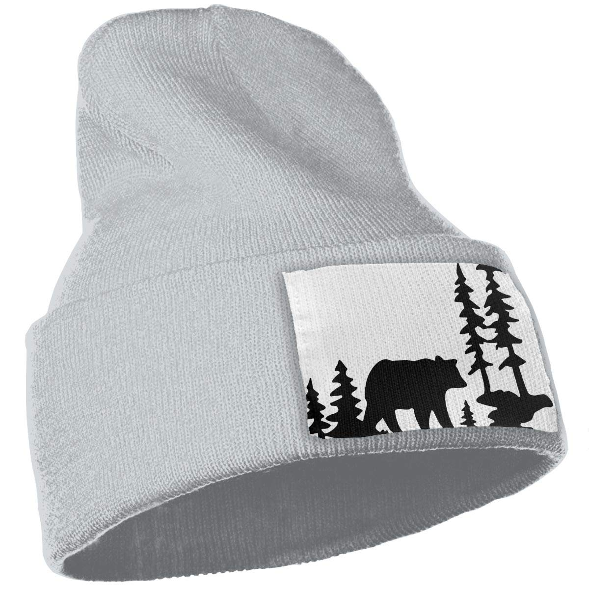TAOMAP89 Woodland Bear Forest Women and Men Skull Caps Winter Warm Stretchy Knit Beanie Hats