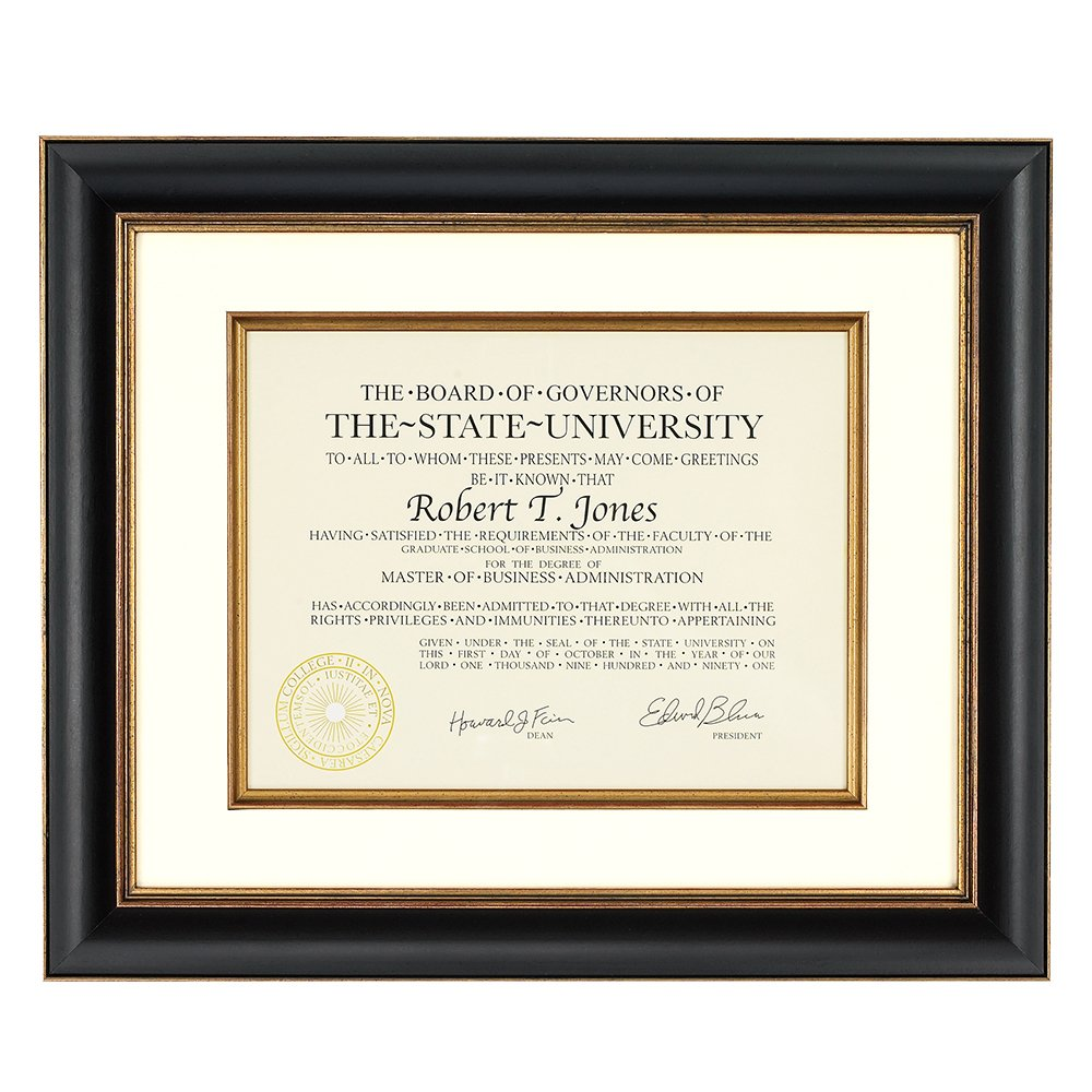 Artcare By Nielsen Bainbridge 12x15 Tuscan Collection Black and Gold Archival Document Frame With Warm White Mat For 8.5x11 Document #RW1661BG. Includes: UV Glazed Glass and Anti Aging Liner