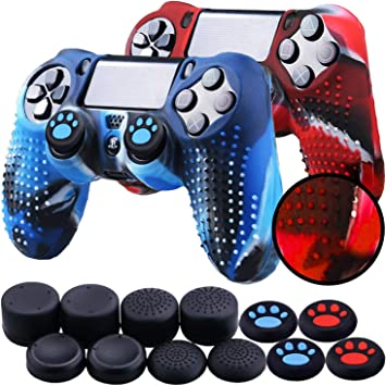 Th-some Fundas para Mando Sony PS4/ PS4 Pro/ PS4 Slim Dualshock 4, Silicona Camuflaje Carcasa Protectora Antideslizante para Play 4/ Playstation 4 (2 Pcs Camuflaje Rojo Azul): Amazon.es: Electrónica
