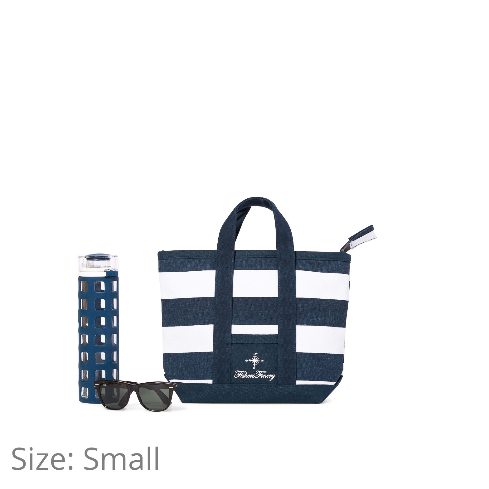 Fishers Finery Canvas Tote with Zipper and Lining with interior Pockets; Multi Sizes and Colors (Navy, S) by Fishers Finery (Image #6)