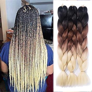 Amazon Com Liyarce 24 3 Tone Ombre Jumbo Braid Hair Extension