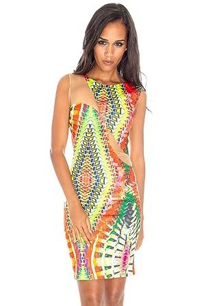 e0c1c9cb925 Noir Goddiva Le Filtre Sexy Multicolore Motif aztèque Mini Robe soirée – 4  Tailles UK 8