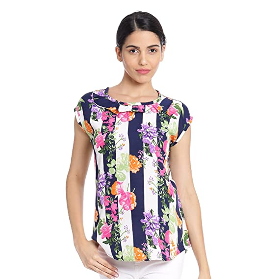 MALLORY WINSTON Women's Crepe Top  Multicolor Floral Print  Women's Tops