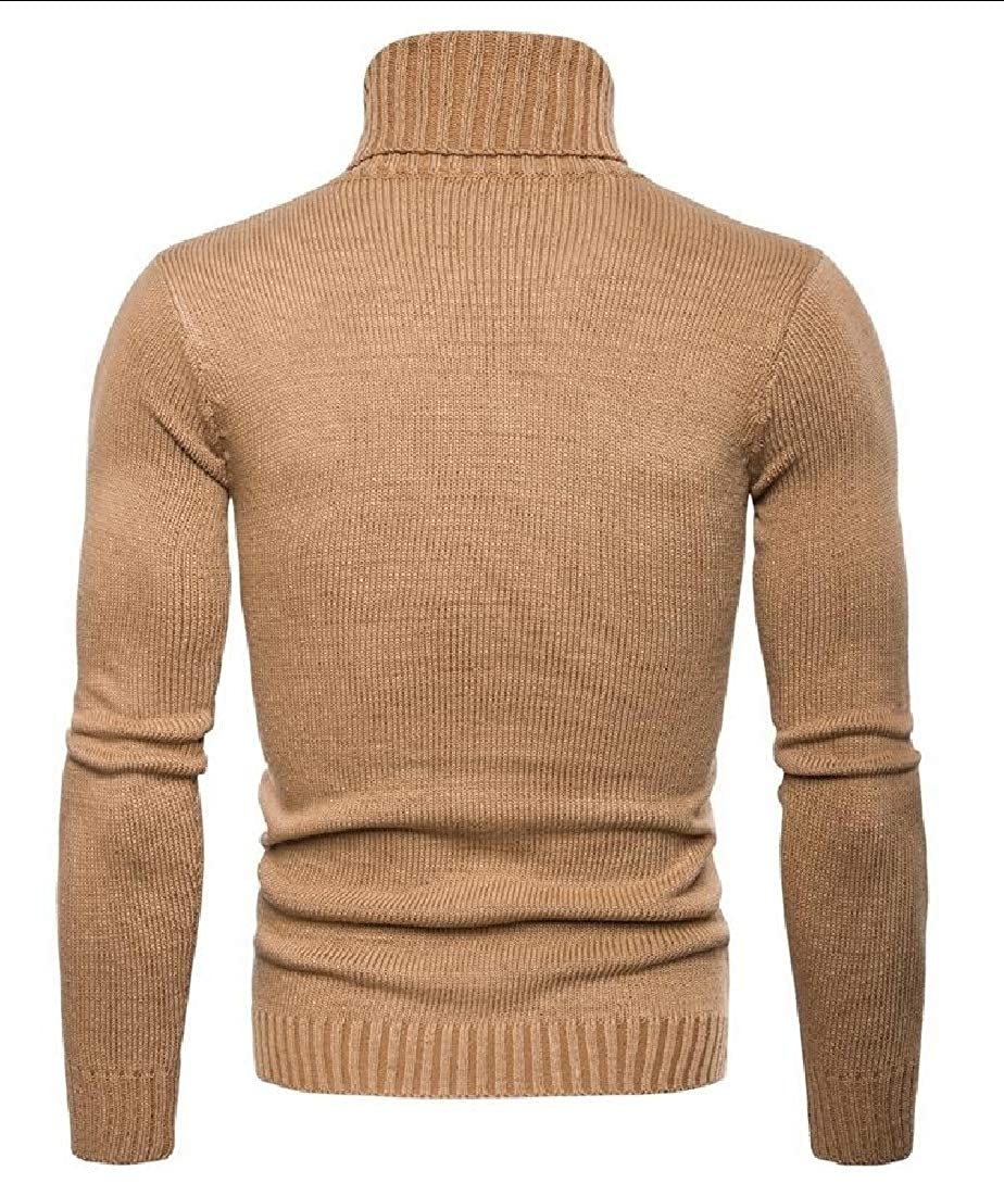 GAGA Mens Ribbed Long Sleeves Turtleneck Tops Casual Knit Pullover Sweater
