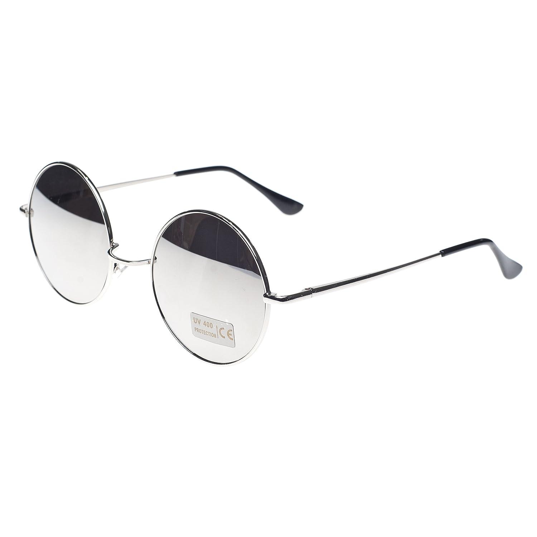 Cyber ronde John Lennon glasses miroir goggles de soleil des Lunettes de Steampunk Antique Copper (Silver) H8d9Ilpn4d