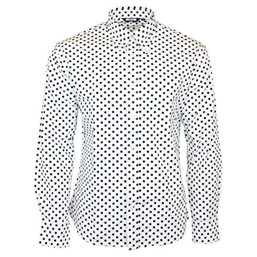 1960s – 70s Mens Shirts- Disco Shirts, Hippie Shirts Shirt Polka Dot Mens White Classic Mod Vintage Design - Relco £36.99 AT vintagedancer.com