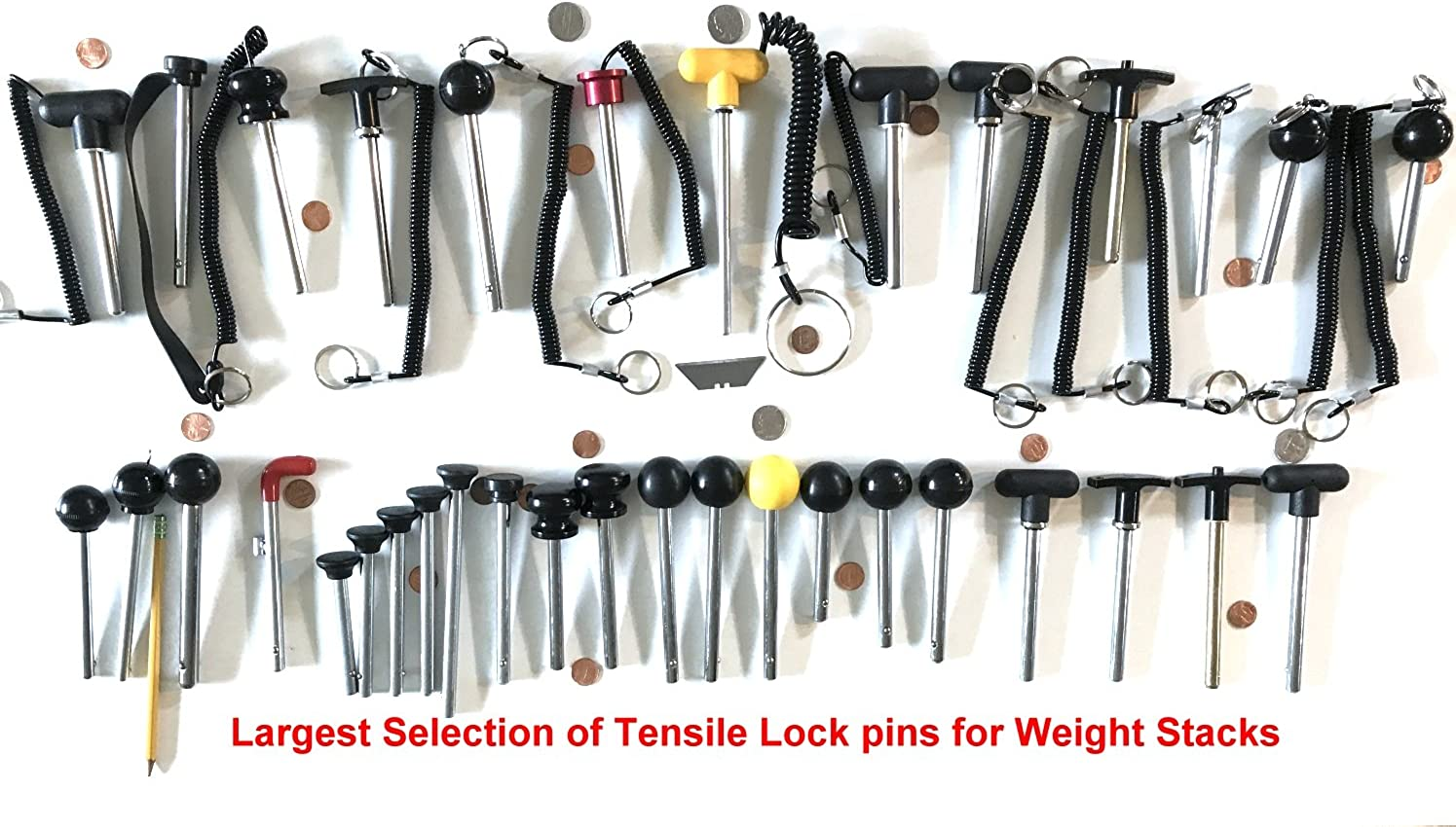 Chrome Pl Universal Weight Stack Replacement SELECTOR KEY Tensile DETENT Hitch PINS 3//8 Diameter T Handle Hard Plastic round knob 4 1//4 Locking Space SBDs World Class Quick Release Pin