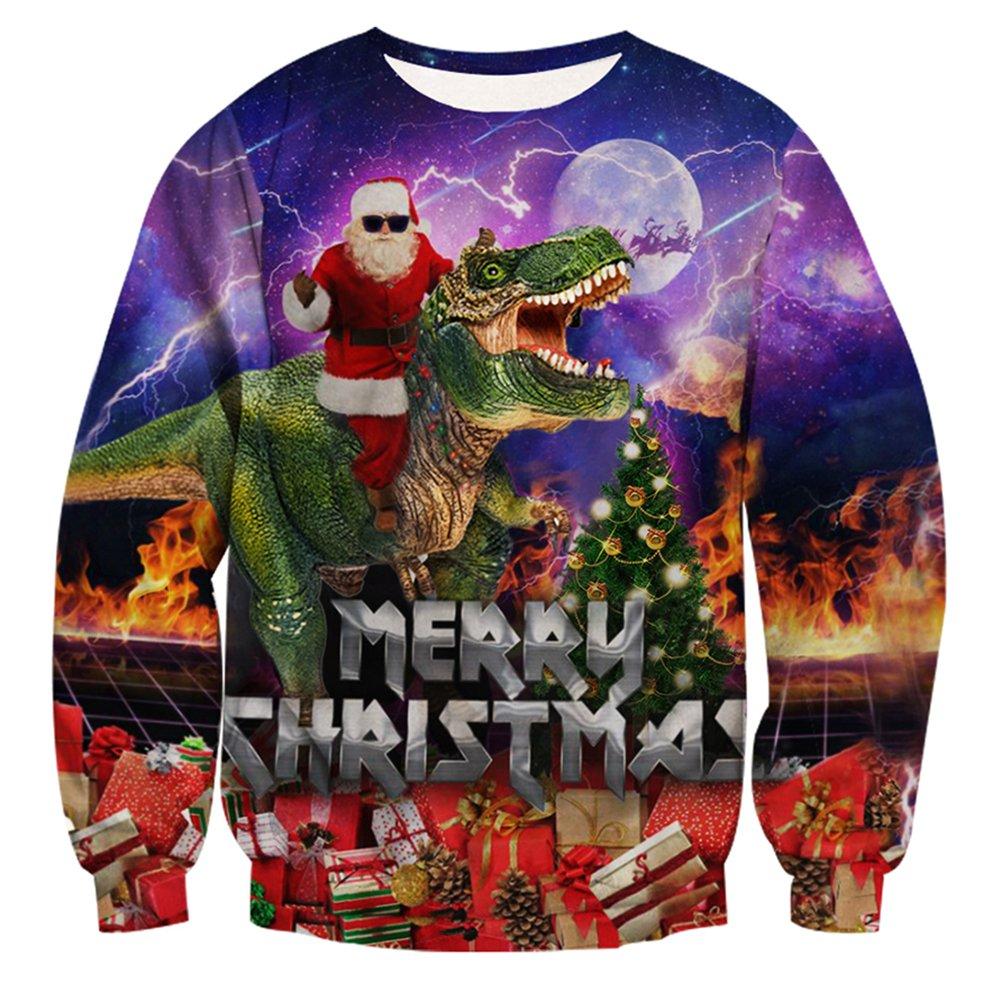 RAISEVERN Unisex Men Women Funny Ugly Christmas Jumpers 3D Printed Xmas Santa Sweatshirt Long Sleeve Pullover