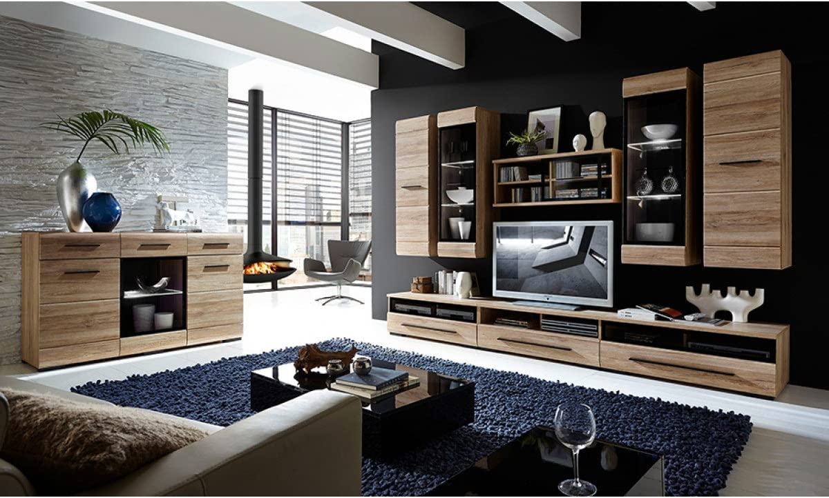 Fever - TV Cabinet With Glass Front TV Unit Stand 100cm (RTV1S3/10/S) - White/White High Gloss Sonoma Oak