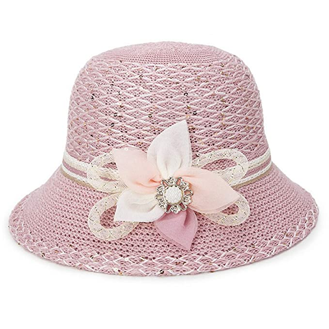 2019 Summer Hollow Women Knitting Bucket Hats with Floral Ladies ... 57c83c66dc5