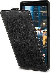 StilGut UltraSlim Case, custodia per Google Pixel 2 XL flip case custodia verticale in vera pelle pregiata, Nero