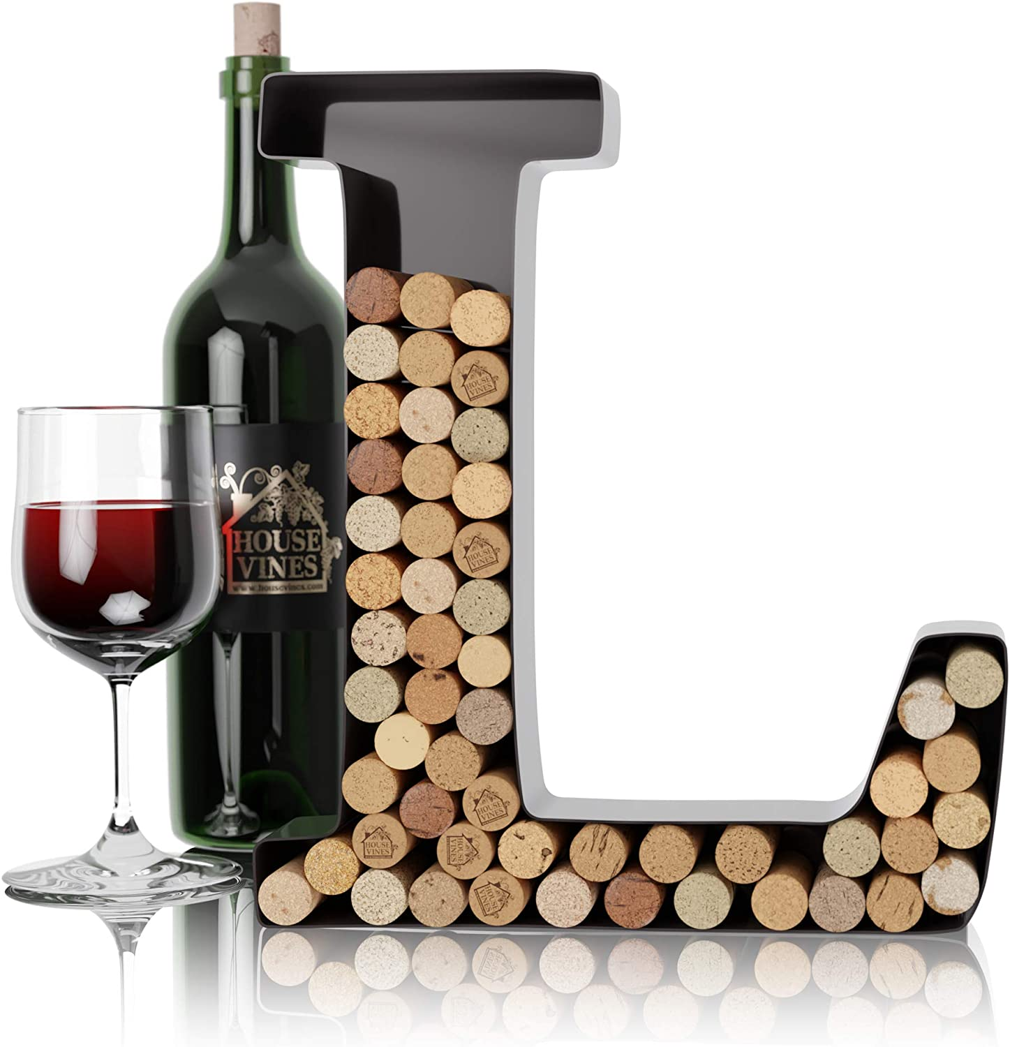 Wine Letter Cork Holder Art Wall Décor ~ Metal Letter Wine Cork Holder Monogram ~ Individual Wine Letter Cork Holders A Thru Z ~ Gifts for Wine Lovers ~ by HouseVines (L)