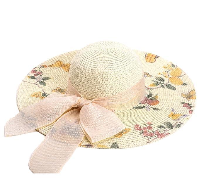 Sombrero de Jipijapa de Paja Verano Primavera Plegable Mujer Niñas   Amazon.es  Ropa y accesorios 34cf257879a