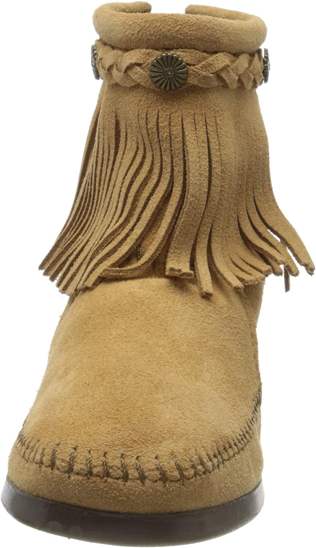 Minnetonka Hi Top Back Zip Boot, Stivali Donna Beige Beige Tpe
