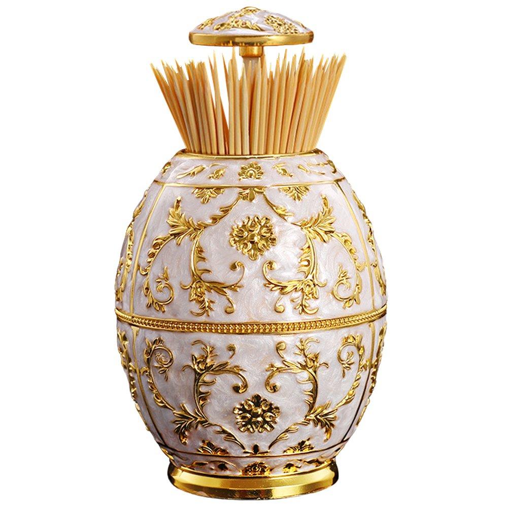 Aibearty Royal Vase Shape Automatic Golden Flower Print Toothpick Box Round Toothpick Dispenser Holder