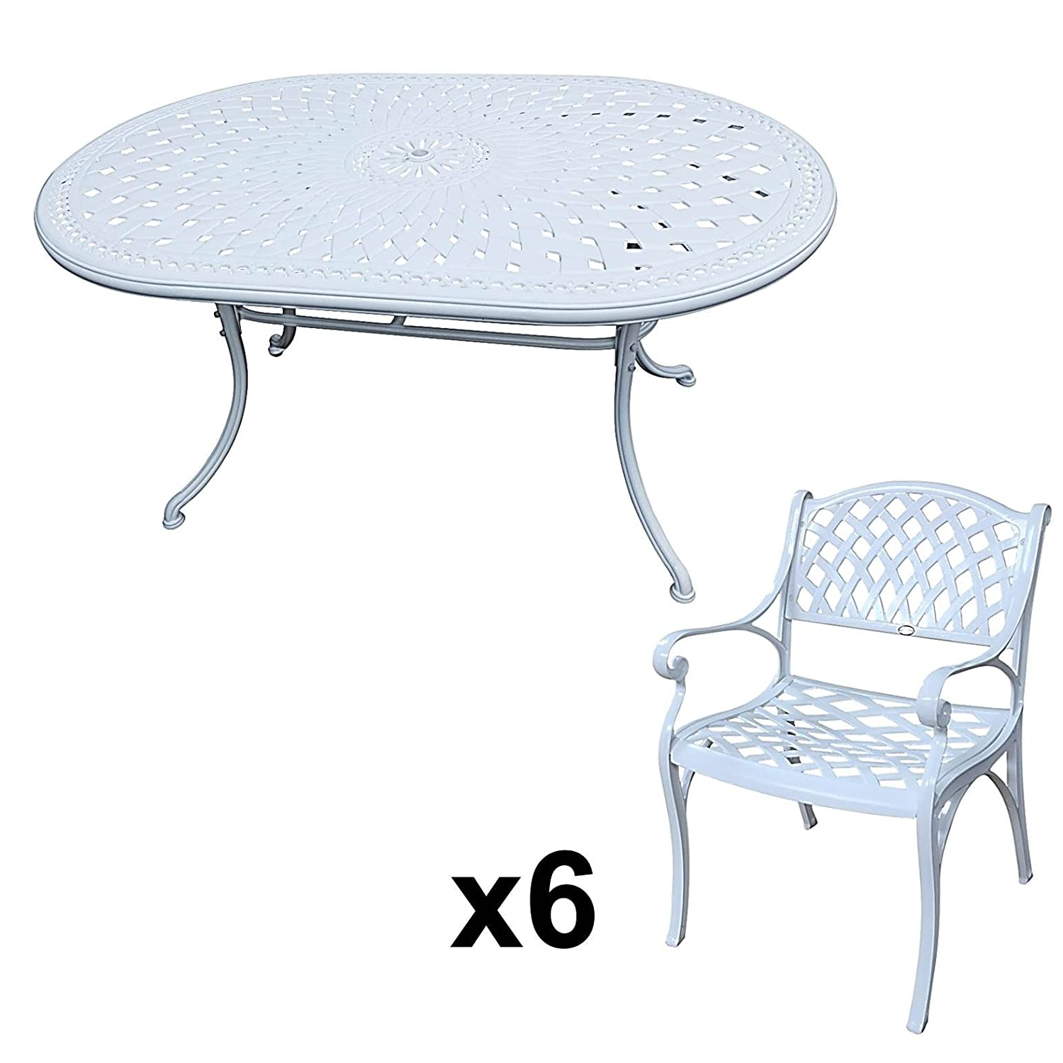 lazy susan june 150 x 95 cm ovaler gartentisch mit 6 st hlen gartenm bel set aus metall. Black Bedroom Furniture Sets. Home Design Ideas