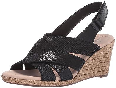 9ee7311c909e CLARKS Women s Lafley Krissy Espadrille Wedge Sandal Black Suede Leather  Combi 050 ...