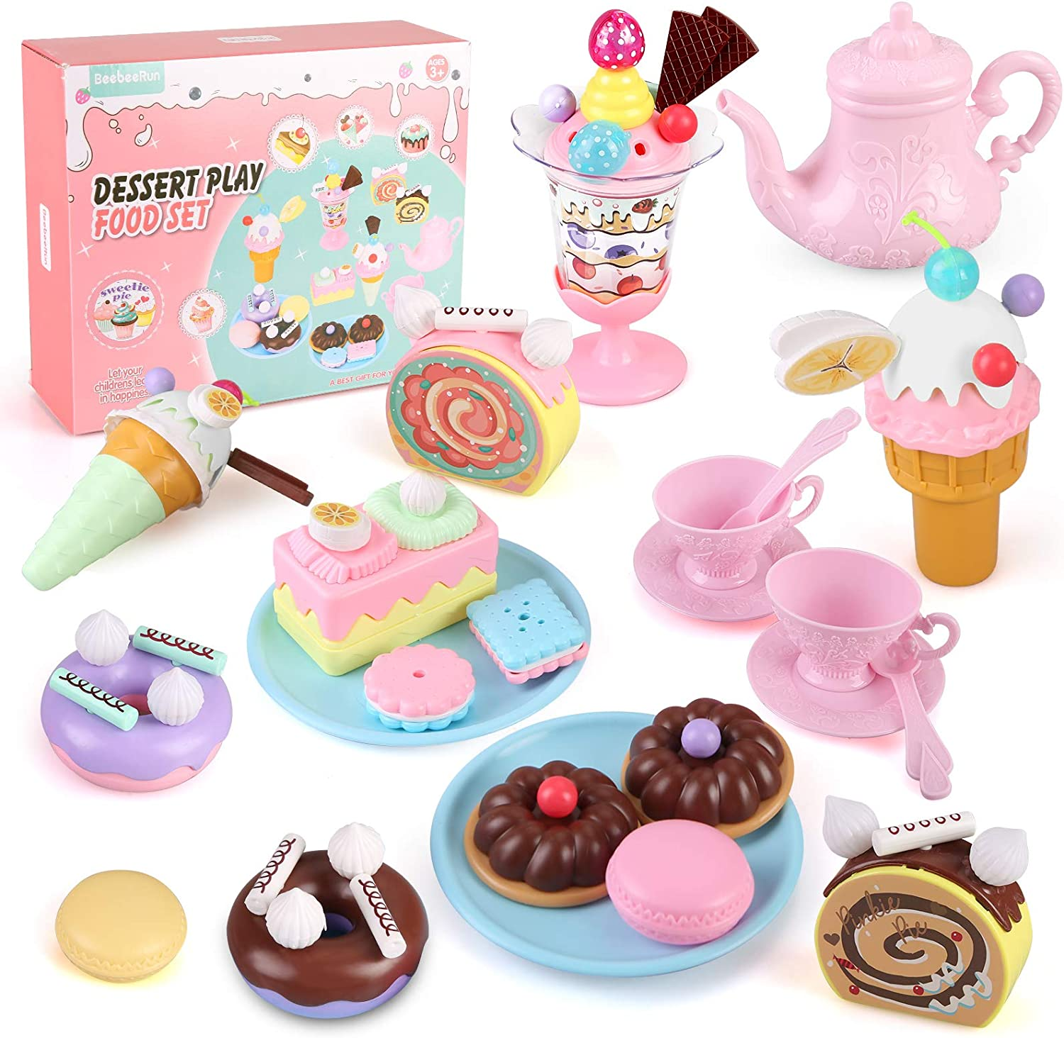 Toys Tea Set for Kids, 62PCS Pretend Play Food Toy Set, Princess Tea Time Toy Set, Kids Tea Party Set with Teapots, Teacups, Ice Cream, Biscuits and Desserts, Kitchen Toy for Toddlers,Boys Girls
