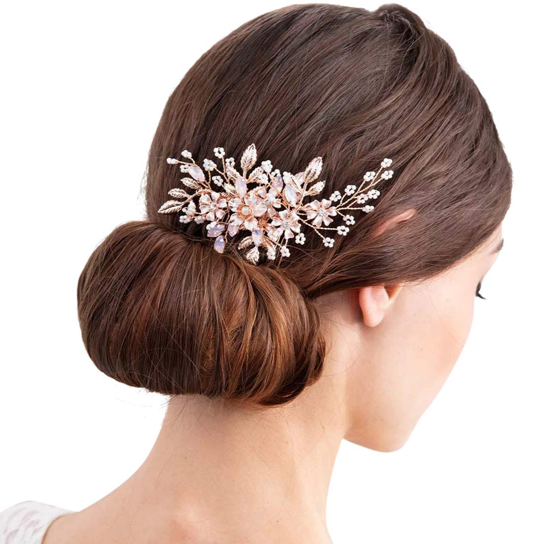 SWEETV Rose Gold Wedding Hair Comb Bridal Hair Accessories Flower Hair Clip Comb Head Pieces for Women by SWEETV